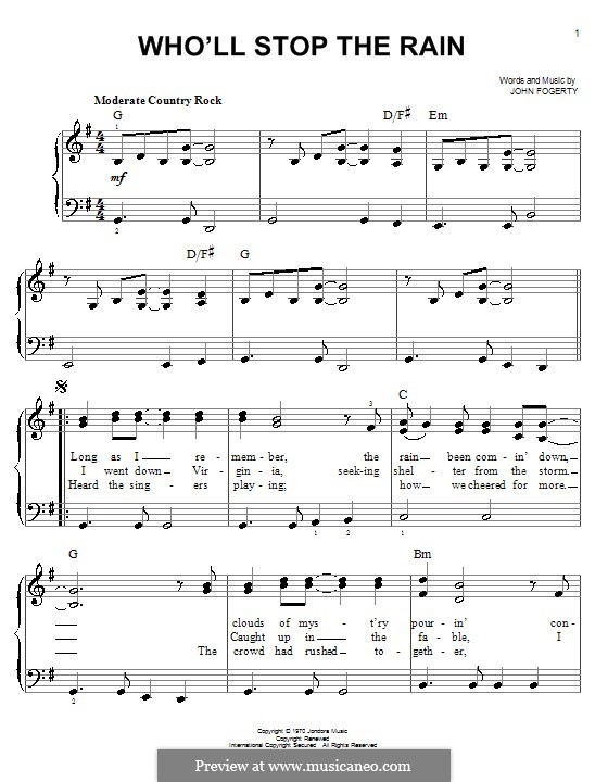 Who'll Stop the Rain (Creedence Clearwater Revival): For piano by John C. Fogerty