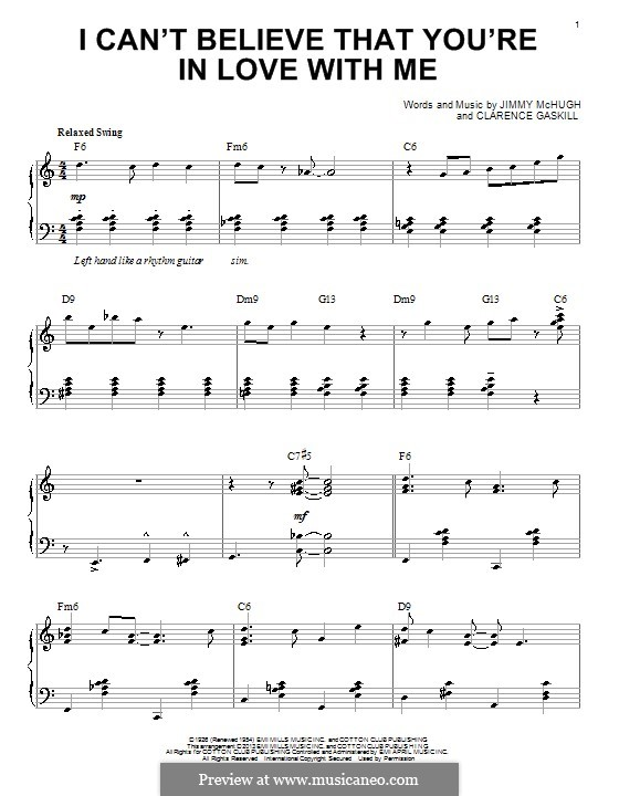 I Can't Believe That You're in Love with Me: For piano by Clarence Gaskill