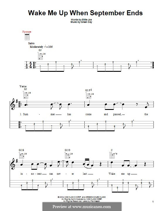 Wake Me Up When September Ends (Green Day): For ukulele by Billie Joe Armstrong, Tré Cool, Michael Pritchard