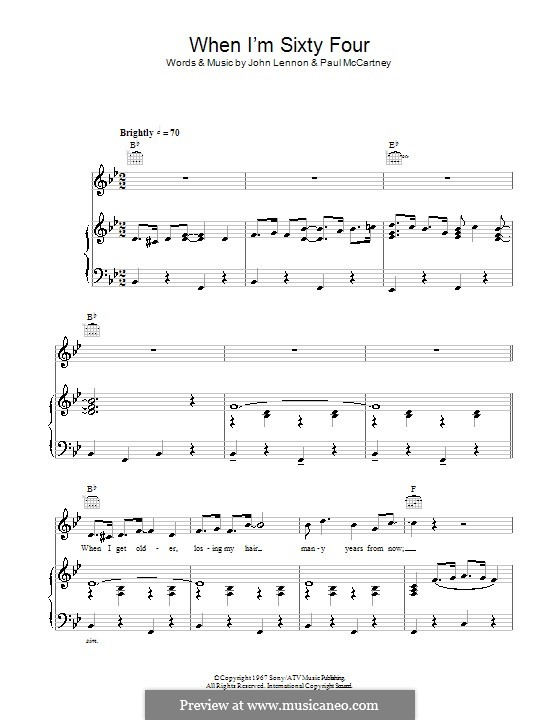 When I'm Sixty-Four (The Beatles): For voice and piano (or guitar) by John Lennon, Paul McCartney
