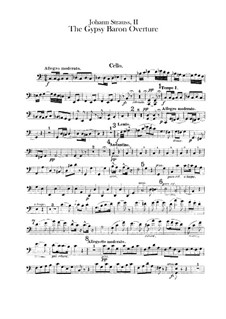 The Gypsy Baron: Overture – cello part by Johann Strauss (Sohn)