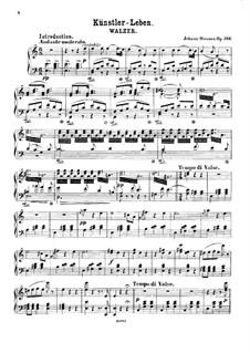 Artist's Life, Op.316: Piano score by Johann Strauss (Sohn)