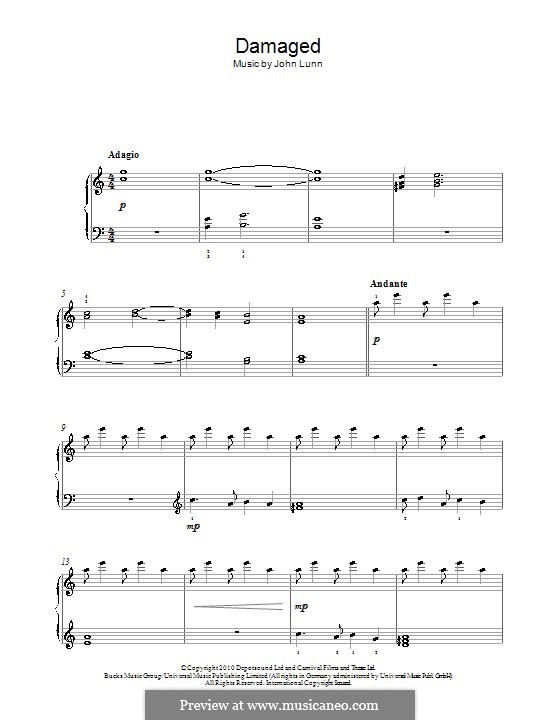 Damaged: For piano by John Lunn