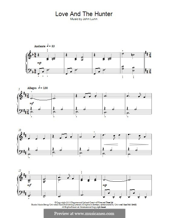 Love and the Hunter: For piano by John Lunn
