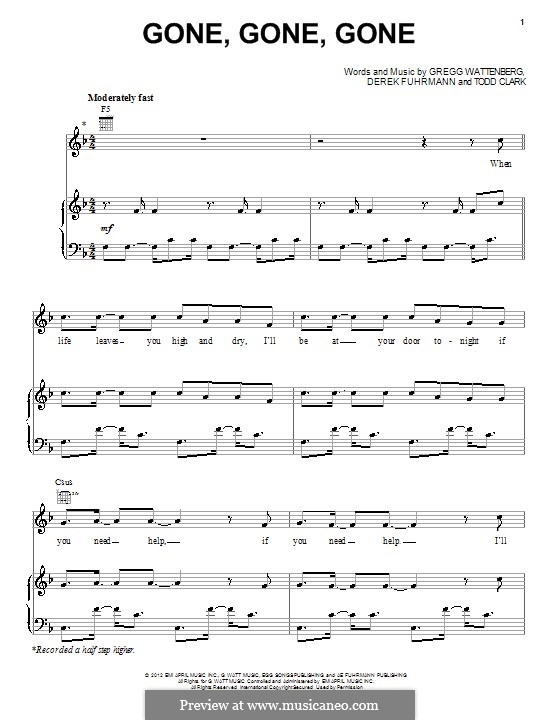 Gone, Gone, Gone: For voice and piano (or guitar) by Gregg Wattenberg, Derek Fuhrmann