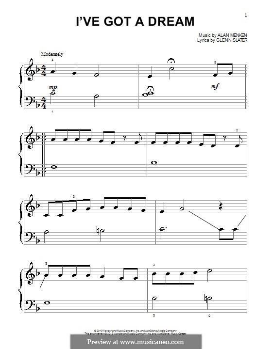 I've Got a Dream: For piano by Alan Menken