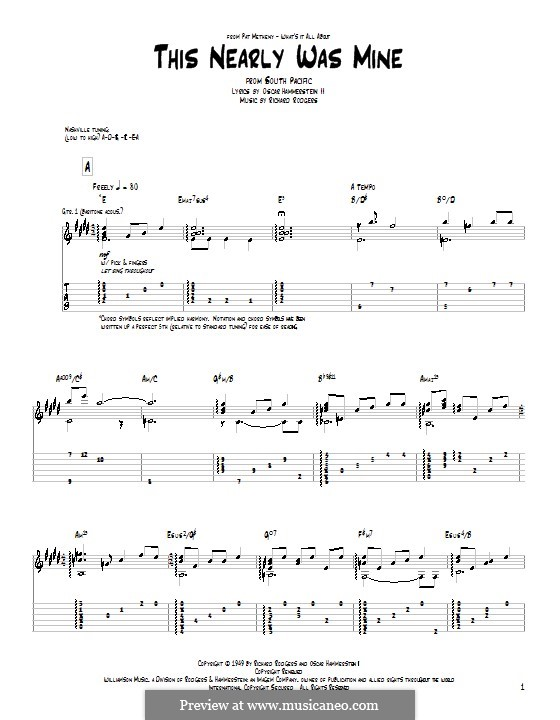 This Nearly Was Mine (from South Pacific): For guitar with tab by Richard Rodgers