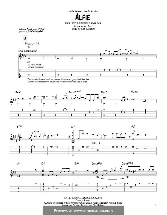 Alfie: For guitar with tab (Pat Metheny) by Burt Bacharach