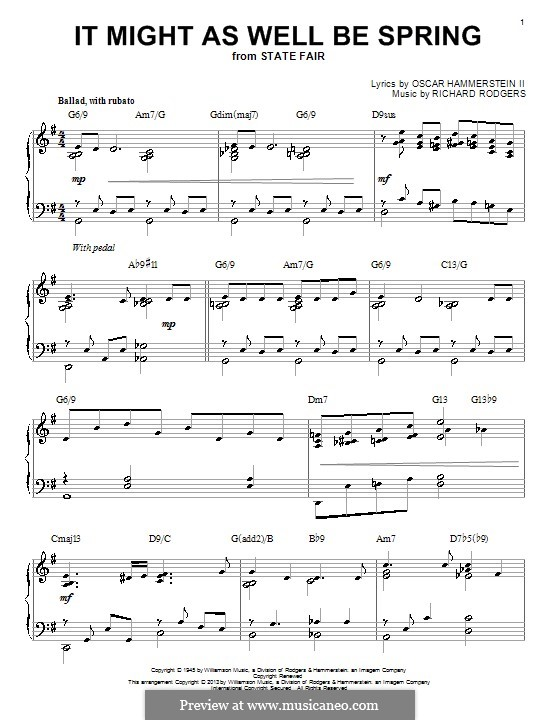 It Might as Well Be Spring: For piano by Richard Rodgers