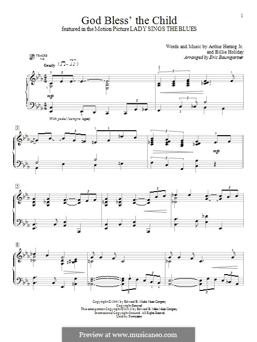 God Bless' the Child: For piano by Eric Baumgartner