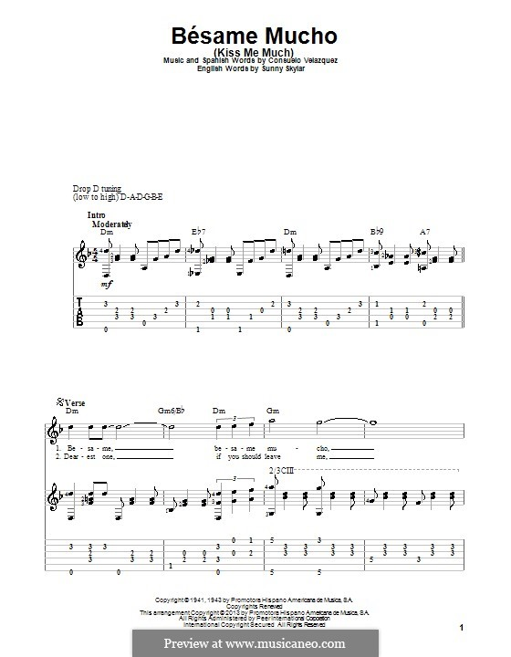 Besame Mucho (Kiss Me Much): For guitar with tab by Consuelo Velazquez