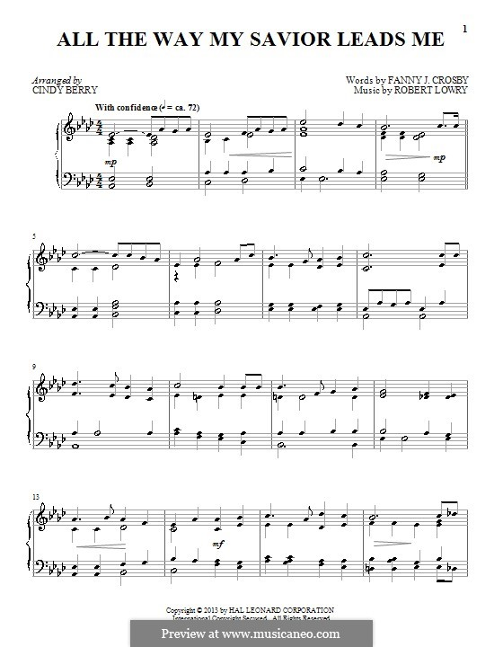 All the Way My Savior Leads Me: For piano by Robert Lowry