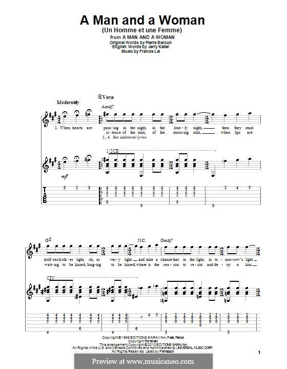 A Man and a Woman (Un Homme Et Une Femme): For guitar with tab by Francis Lai