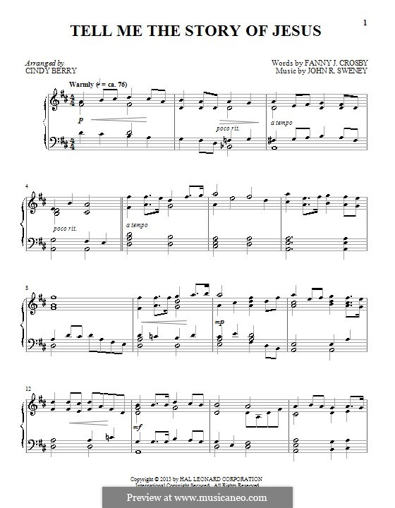 Tell Me the Story of Jesus: For piano by John Robson Sweney