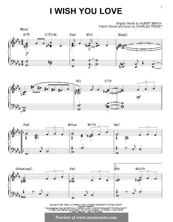 I Wish You Love: For piano by Charles Trenet