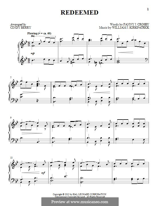 Redeemed: For piano by William (James) Kirkpatrick