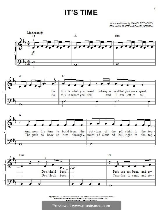 It's Time (Imagine Dragons): For piano by Benjamin McKee, Daniel Reynolds, Daniel Sermon