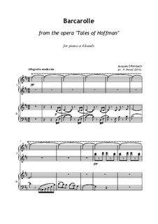 Barcarole: Version for piano four hands by Jacques Offenbach