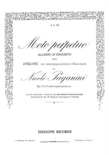 Moto Perpetuo for Violin and Piano in C Major, Op.11: Score, solo part  by Niccolò Paganini