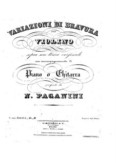 Twenty-Four Caprices, Op.1: Caprice No.24, for violin and piano or guitar – parts by Niccolò Paganini
