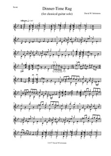 Dinner Time Rag: For solo guitar by David W Solomons