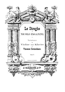 Le Streghe (Witches Dance), Op.8: For cello and piano – score, solo part by Niccolò Paganini