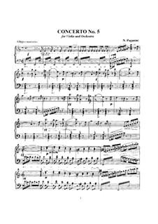 Concerto for Violin and Orchestra No.5 in A Minor, MS 78: Concerto for Violin and Orchestra No.5 in A Minor by Niccolò Paganini