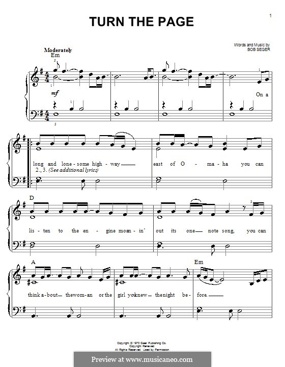 Turn the Page: For piano by Bob Seger