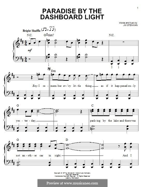 Paradise By the Dashboard Light (Meat Loaf): For piano by Jim Steinman