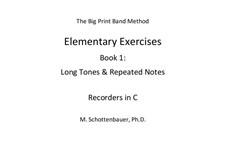Elementary Exercises. Book I: Recorders in C by Michele Schottenbauer