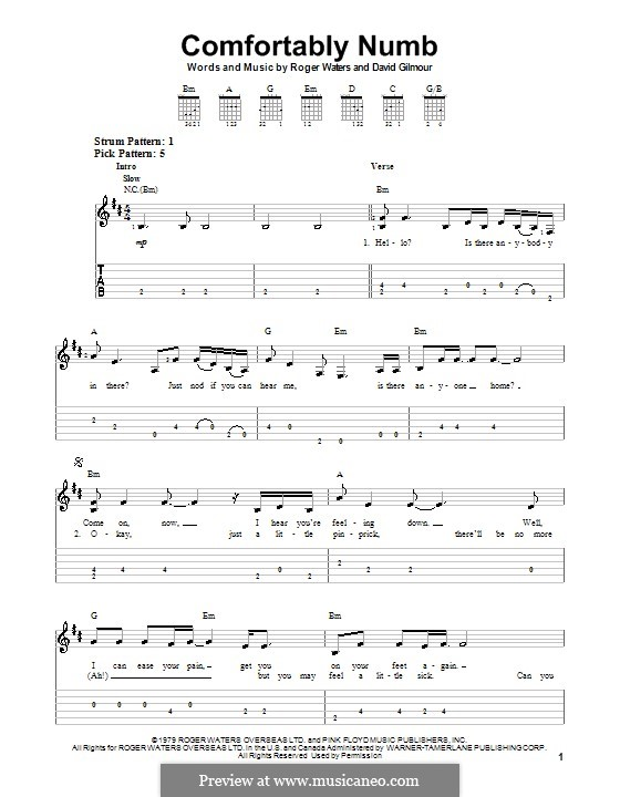 Comfortably Numb (Pink Floyd): For guitar with tab by David Gilmour, Roger Waters