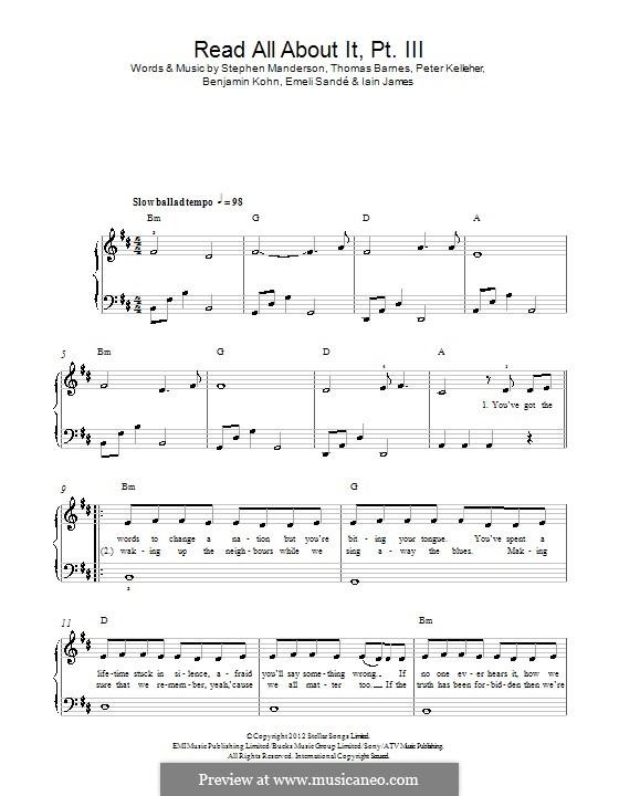 Read All About It: Part III, for piano by Benjamin Kohn, Peter Kelleher, Stephen Manderson, Thomas Barnes, Iain James
