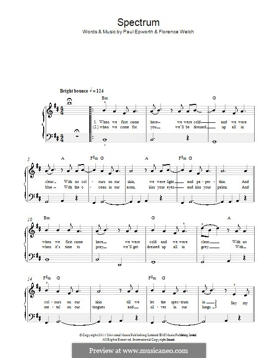 Spectrum (Florence and The Machine): For piano by Florence Welch, Paul Epworth