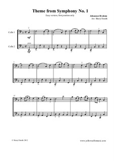 Movement IV: Theme. Version for two beginner cellos by Johannes Brahms