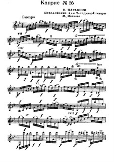 Twenty-Four Caprices, Op.1: Caprice No.16, for guitar by Niccolò Paganini