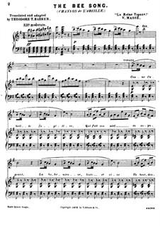 La reine Topaze: Chanson de L'abeille, for voice and piano by Victor Massé