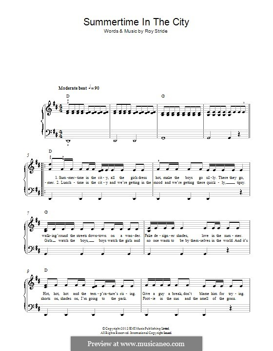 Summertime in the City (Scouting for Girls): For piano by Roy Stride
