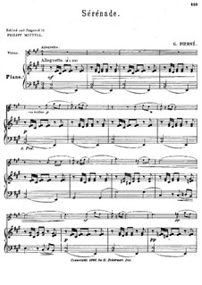 Serenade for Strings, Op.7: Version for violin and piano – score and solo part by Gabriel Pierné