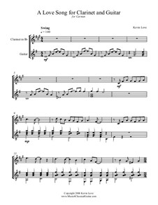 A Love Song: For clarinet and guitar – score and parts by Kevin Love