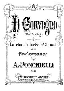 Il Convegno (The Meeting). Divertimento for Two Clarinets with Piano: Clarinet II part by Amilcare Ponchielli