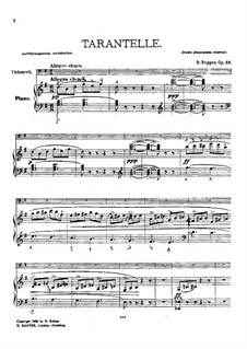 Tarantella for Cello and Piano, Op.33: Score by David Popper