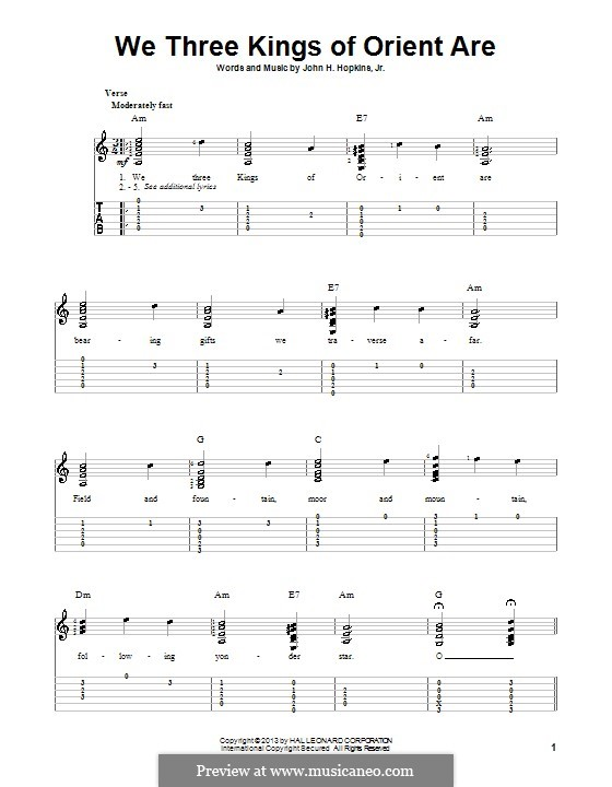 We Three Kings of Orient are (Printable Scores): For guitar with tabulature by John H. Hopkins Jr.