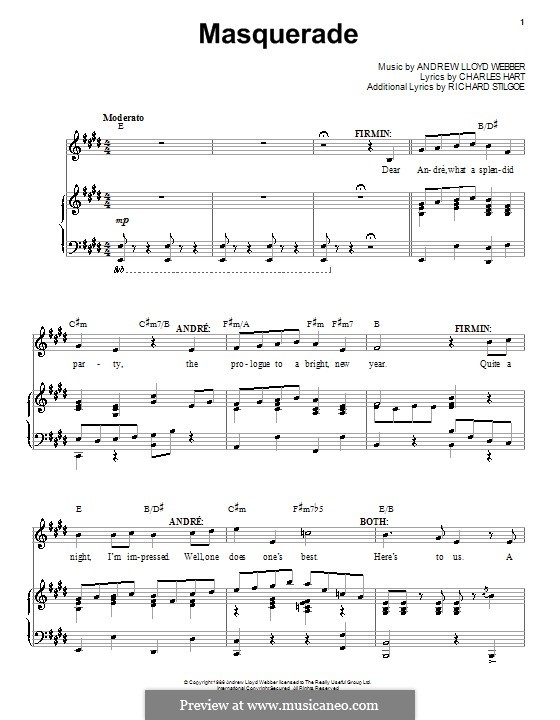 Masquerade: For voice and piano by Andrew Lloyd Webber
