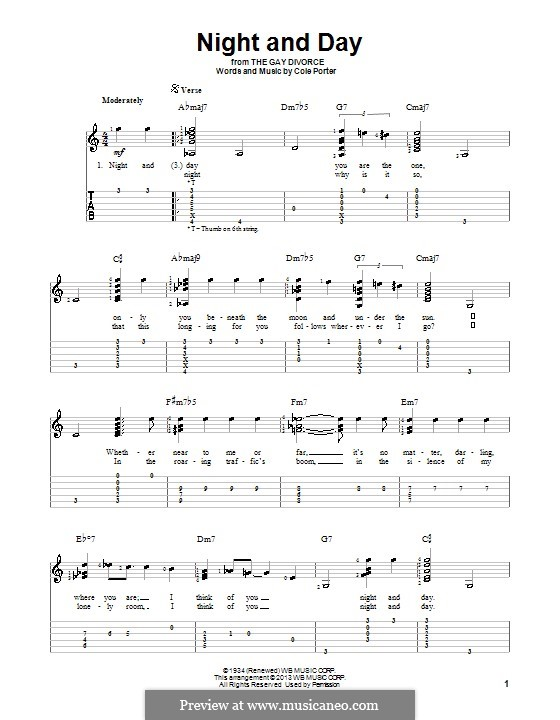 Night and Day (Frank Sinatra): For guitar with tablature by Cole Porter