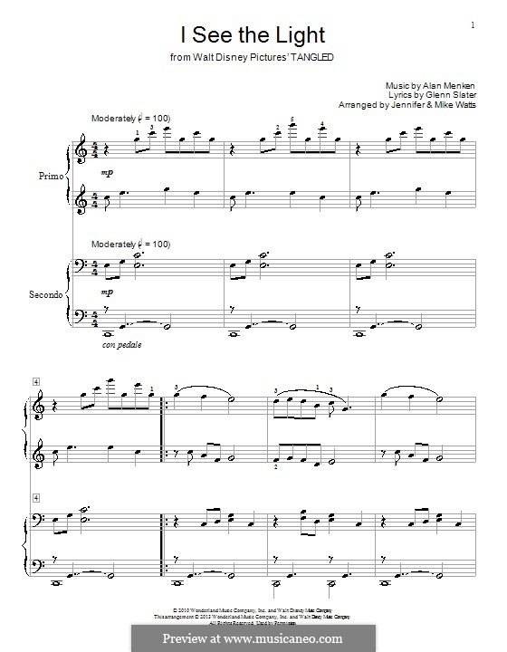 I See the Light: For piano four hands by Alan Menken