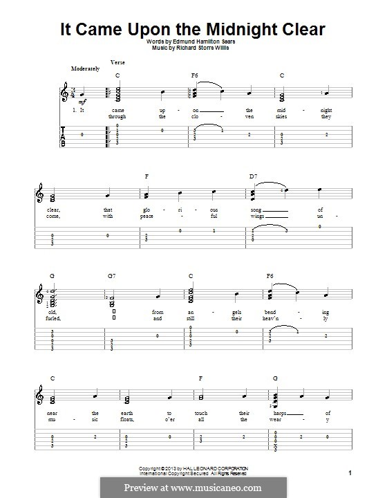 It Came upon the Midnight Clear: For guitar with tab by Richard Storrs Willis