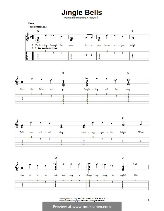 Jingle Bells (Printable scores): For guitar with tabulature by James Lord Pierpont