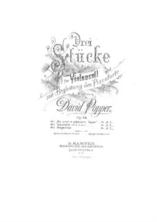 Pieces for Cello and Piano, Op.64: No.1 Once in Fairer Days – score by David Popper