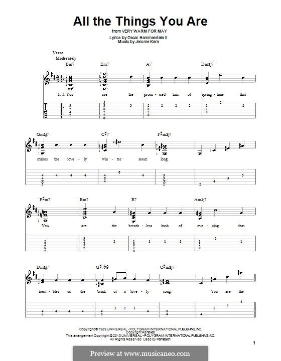 All the Things You are: For guitar with tab by Jerome Kern