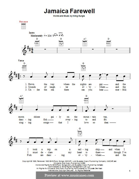 Jamaica Farewell Harry Belafonte By I Burgie Sheet Music On